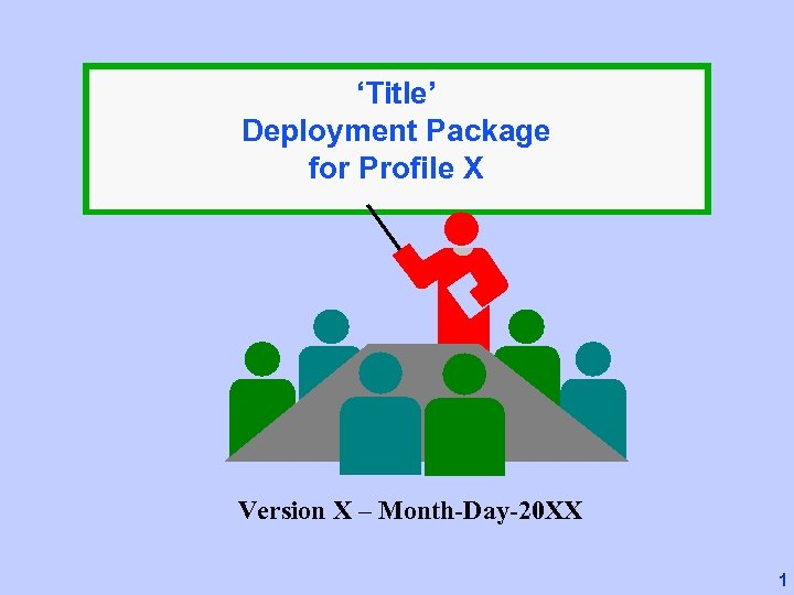 'Title' Deployment Package for Profile X Version X – Month-Day-20 XX 1