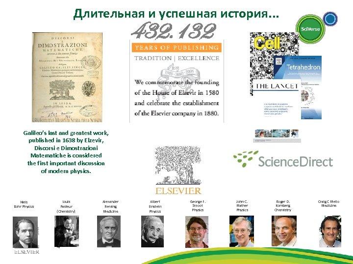 Длительная и успешная история. . . 432. 132 Galileo's last and greatest work, published