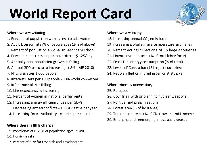 World Report Card Where we are winning 1. Percent of population with access to