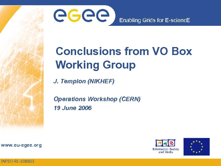 Enabling Grids for E-scienc. E Conclusions from VO Box Working Group J. Templon (NIKHEF)