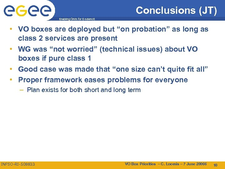 """Conclusions (JT) Enabling Grids for E-scienc. E • VO boxes are deployed but """"on"""