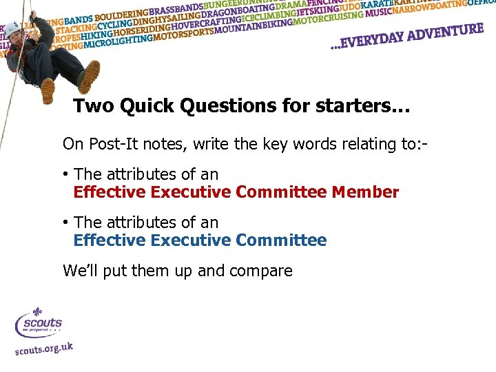 Two Quick Questions for starters… On Post-It notes, write the key words relating to: