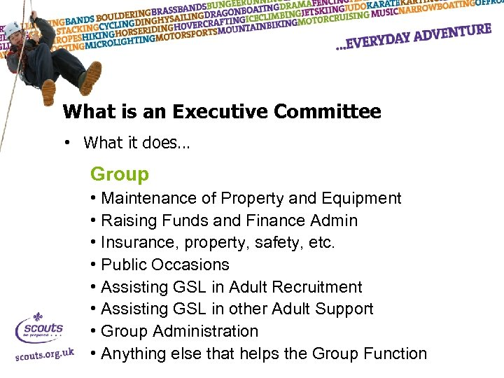 What is an Executive Committee • What it does… Group • Maintenance of Property