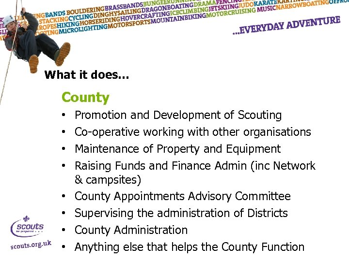 What it does… County • • Promotion and Development of Scouting Co-operative working with