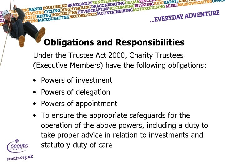 Obligations and Responsibilities Under the Trustee Act 2000, Charity Trustees (Executive Members) have the