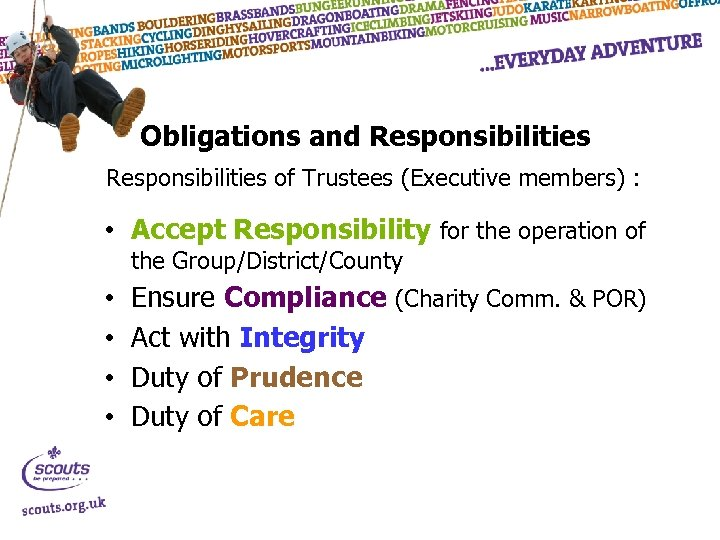 Obligations and Responsibilities of Trustees (Executive members) : • Accept Responsibility for the operation