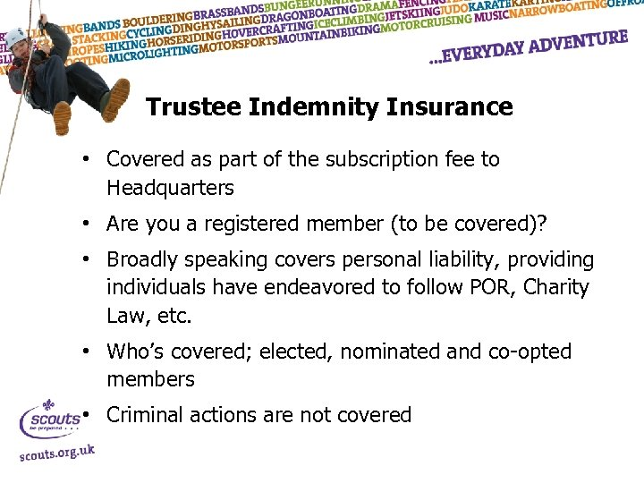 Trustee Indemnity Insurance • Covered as part of the subscription fee to Headquarters •