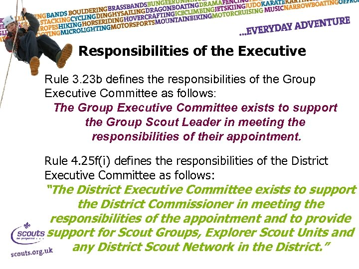 Responsibilities of the Executive Rule 3. 23 b defines the responsibilities of the Group