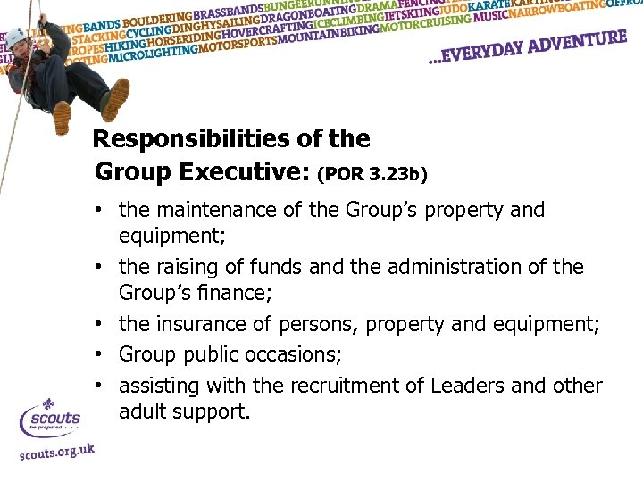Responsibilities of the Group Executive: (POR 3. 23 b) • the maintenance of the