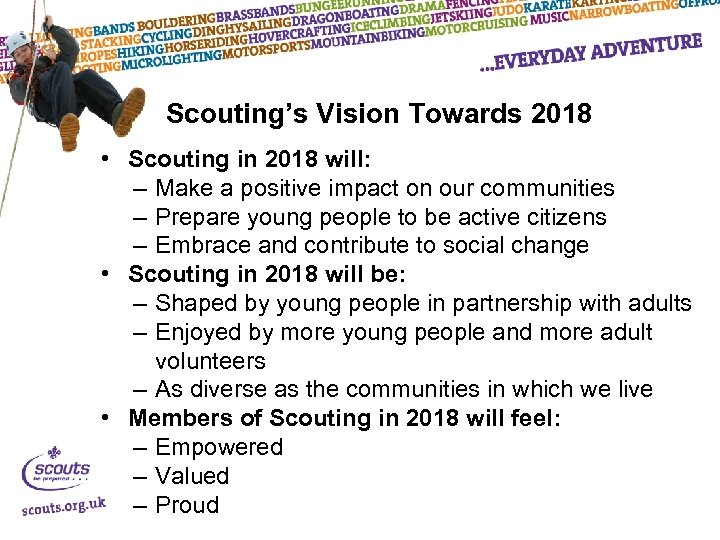 Scouting's Vision Towards 2018 • Scouting in 2018 will: – Make a positive impact