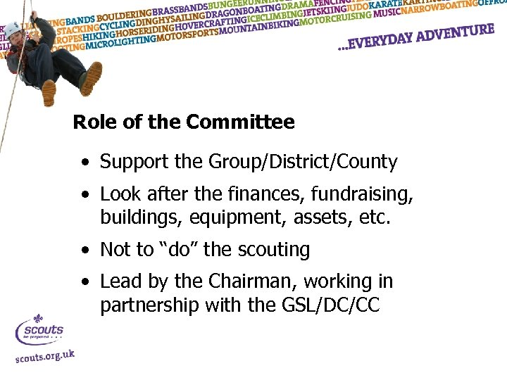 Role of the Committee • Support the Group/District/County • Look after the finances, fundraising,