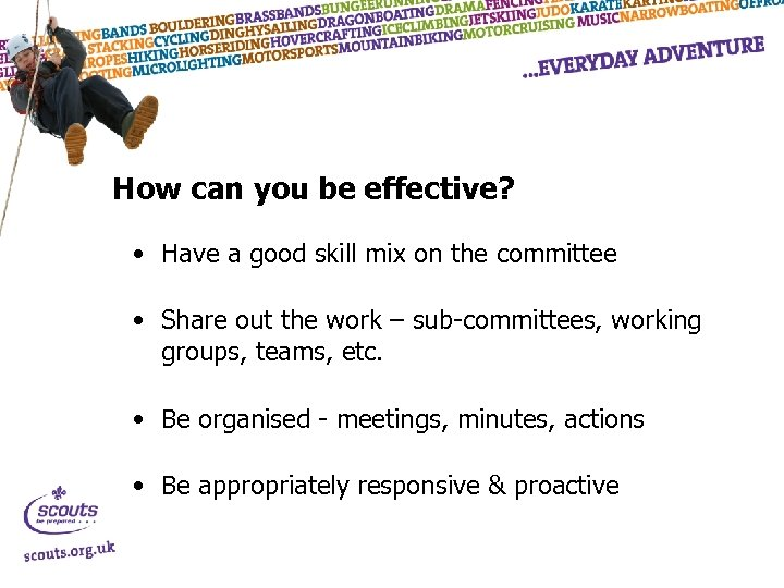How can you be effective? • Have a good skill mix on the committee