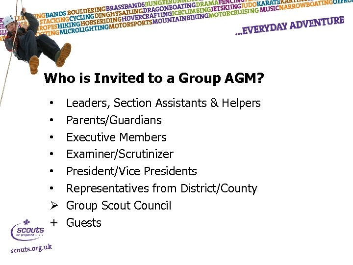 Who is Invited to a Group AGM? • • • Ø + Leaders, Section