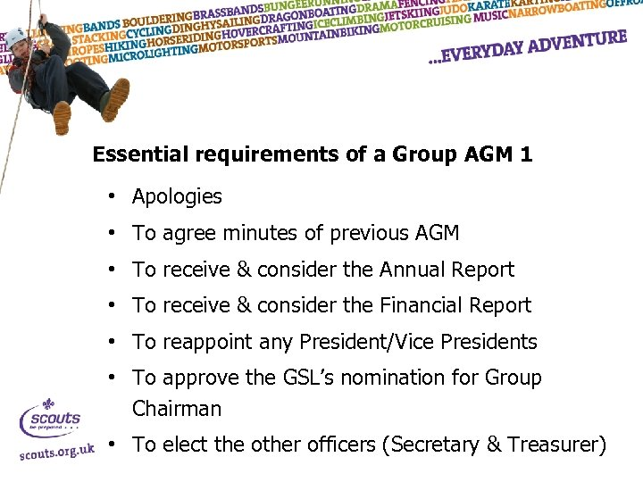 Essential requirements of a Group AGM 1 • Apologies • To agree minutes of