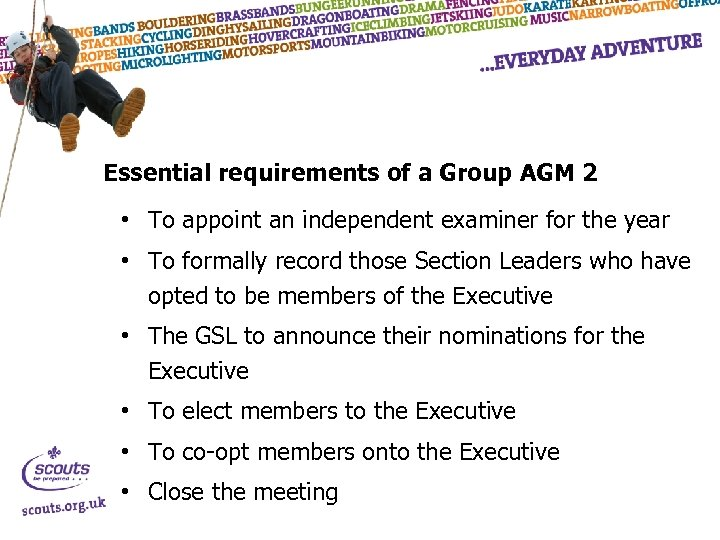 Essential requirements of a Group AGM 2 • To appoint an independent examiner for