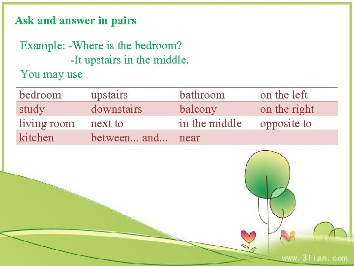 Ask and answer in pairs Example: -Where is the bedroom? -It upstairs in the