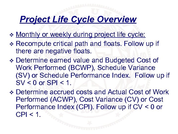 Project Life Cycle Overview Monthly or weekly during project life cycle: v Recompute critical