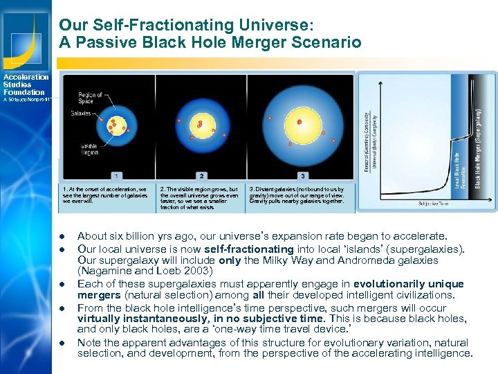 Our Self-Fractionating Universe: A Passive Black Hole Merger Scenario Acceleration Studies Foundation A 501(c)(3)