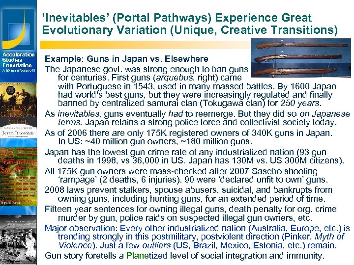 'Inevitables' (Portal Pathways) Experience Great Evolutionary Variation (Unique, Creative Transitions) Acceleration Studies Foundation A