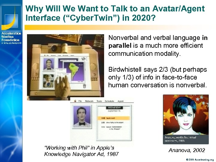 "Why Will We Want to Talk to an Avatar/Agent Interface (""Cyber. Twin"") in 2020?"