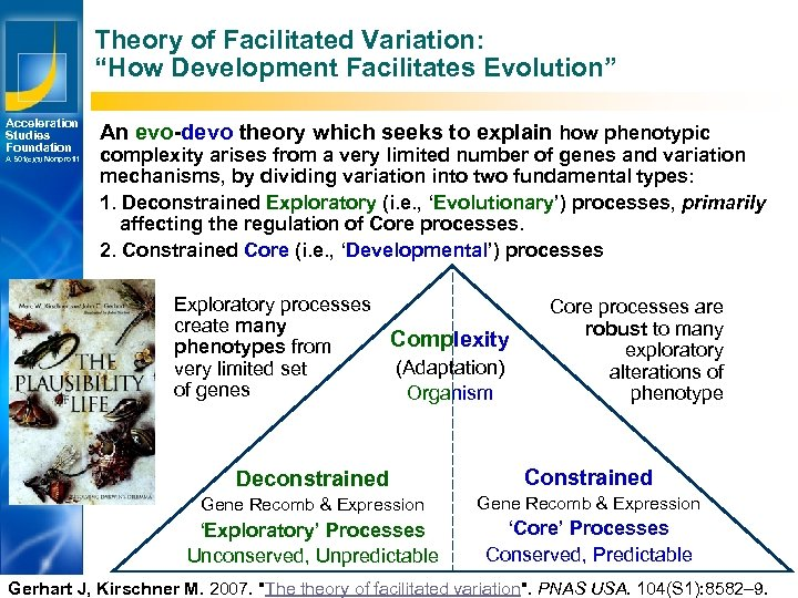 "Theory of Facilitated Variation: ""How Development Facilitates Evolution"" Acceleration Studies Foundation A 501(c)(3) Nonprofit"