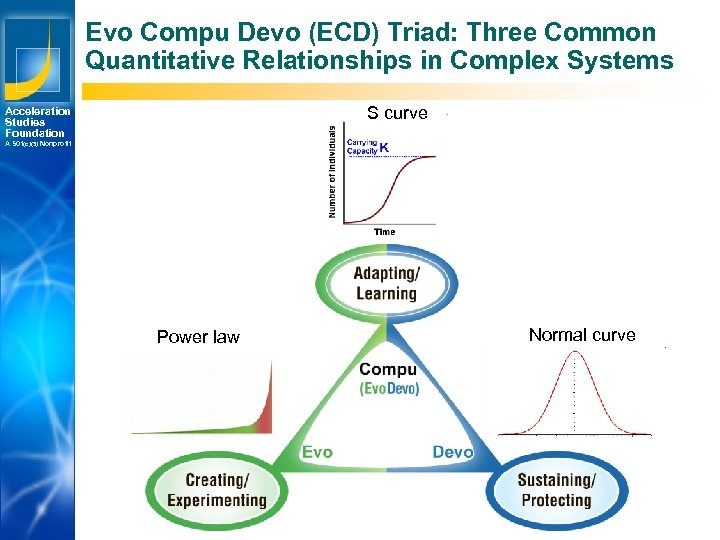 Evo Compu Devo (ECD) Triad: Three Common Quantitative Relationships in Complex Systems S curve