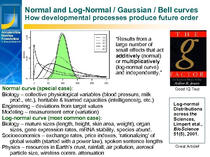 Normal and Log-Normal / Gaussian / Bell curves How developmental processes produce future order