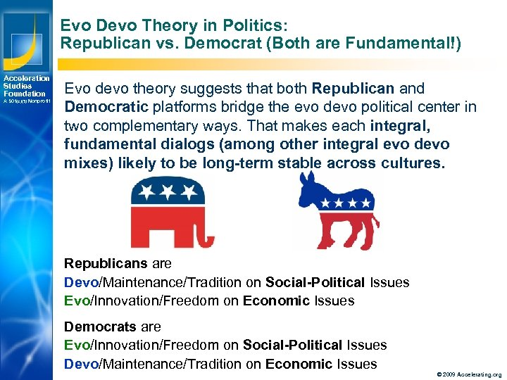 Evo Devo Theory in Politics: Republican vs. Democrat (Both are Fundamental!) Acceleration Studies Foundation