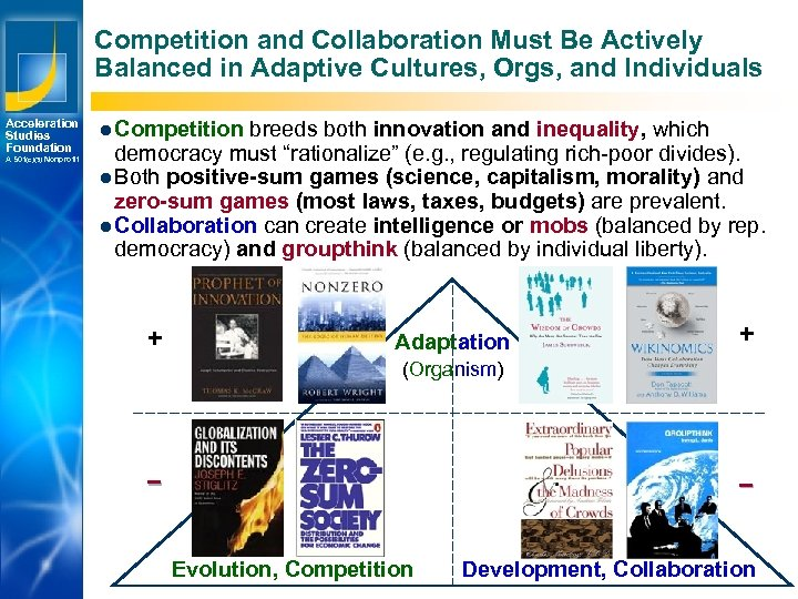 Competition and Collaboration Must Be Actively Balanced in Adaptive Cultures, Orgs, and Individuals Acceleration