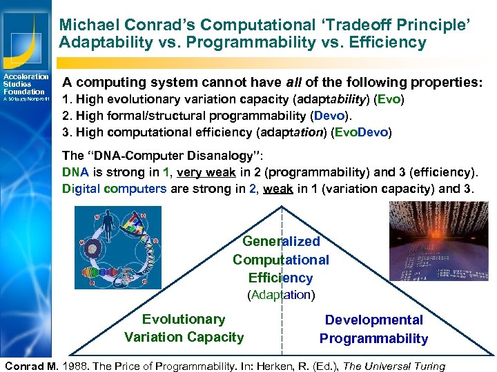 Michael Conrad's Computational 'Tradeoff Principle' Adaptability vs. Programmability vs. Efficiency Acceleration Studies Foundation A