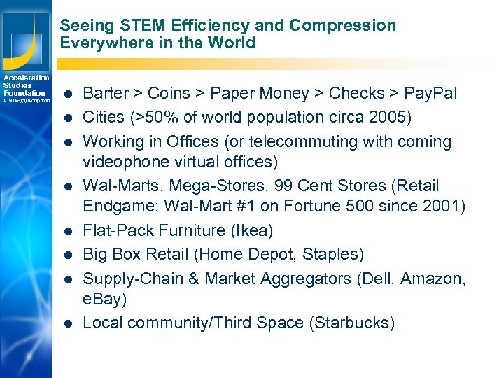 Seeing STEM Efficiency and Compression Everywhere in the World Acceleration Studies Foundation A 501(c)(3)