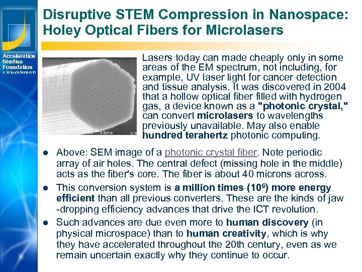 Disruptive STEM Compression in Nanospace: Holey Optical Fibers for Microlasers Lasers today can made