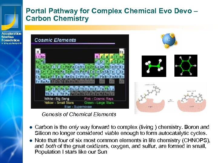 Portal Pathway for Complex Chemical Evo Devo – Carbon Chemistry Acceleration Studies Foundation A