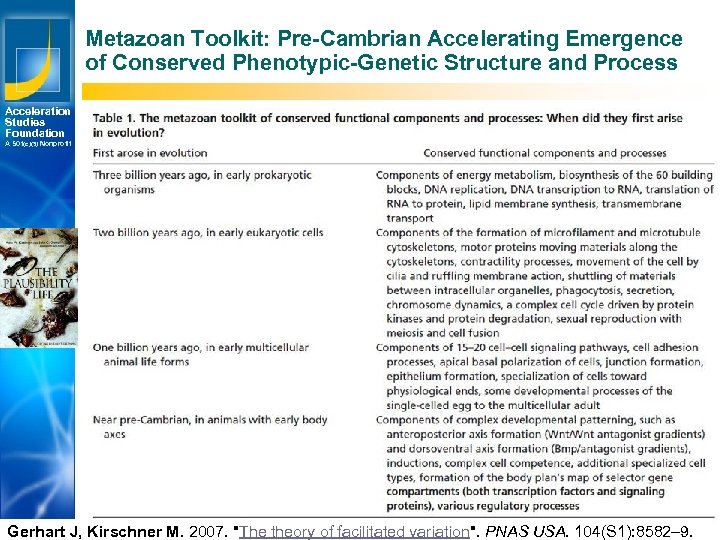 Metazoan Toolkit: Pre-Cambrian Accelerating Emergence of Conserved Phenotypic-Genetic Structure and Process Acceleration Studies Foundation