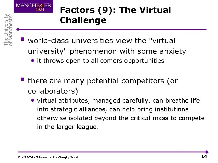 Factors (9): The Virtual Challenge § world-class universities view the