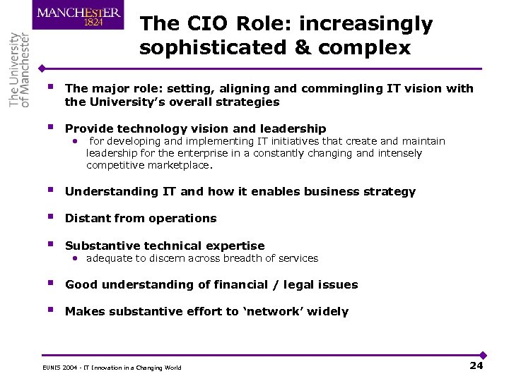 The CIO Role: increasingly sophisticated & complex § The major role: setting, aligning and