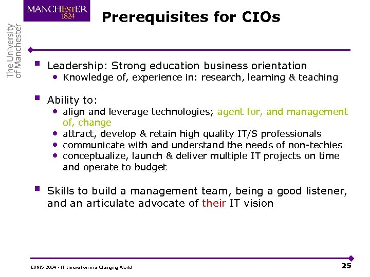 Prerequisites for CIOs § Leadership: Strong education business orientation § Ability to: • Knowledge