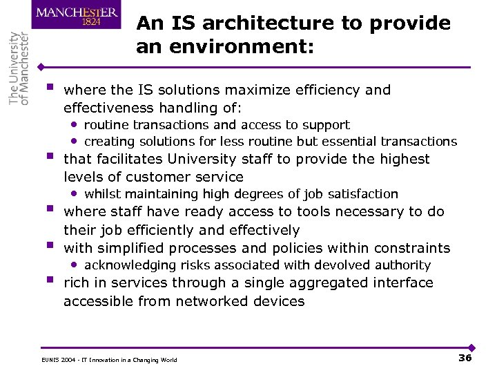 An IS architecture to provide an environment: § § § where the IS solutions