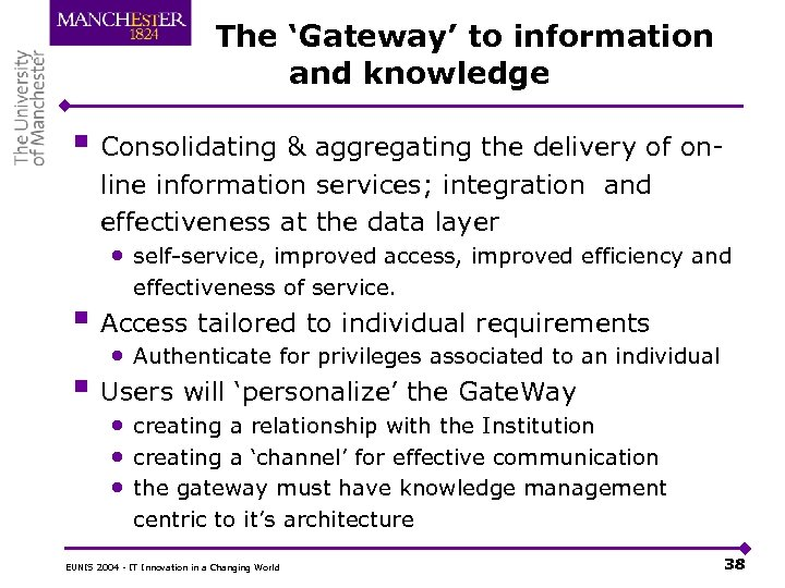 The 'Gateway' to information and knowledge § Consolidating & aggregating the delivery of online