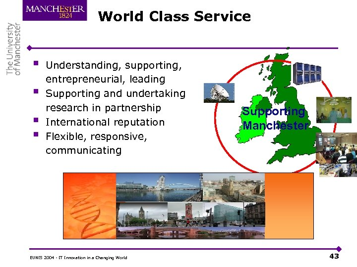 World Class Service § § Understanding, supporting, entrepreneurial, leading Supporting and undertaking research in