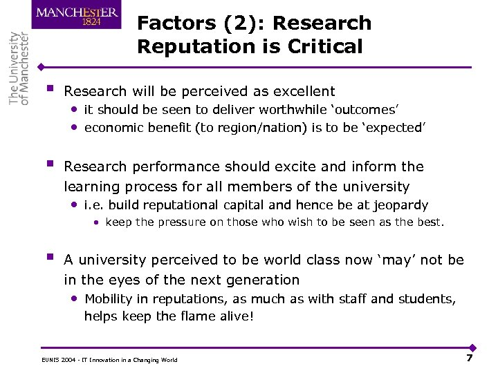 Factors (2): Research Reputation is Critical § Research will be perceived as excellent §
