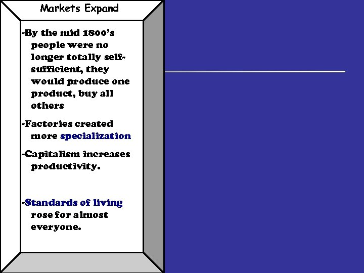 Markets Expand -By the mid 1800's people were no longer totally selfsufficient, they would