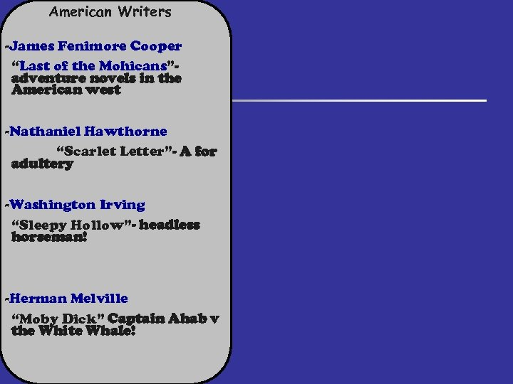 """American Writers -James Fenimore Cooper """"Last of the Mohicans""""adventure novels in the American west"""