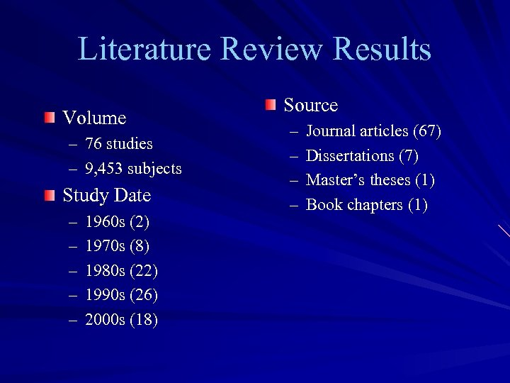 Literature Review Results Volume – 76 studies – 9, 453 subjects Study Date –