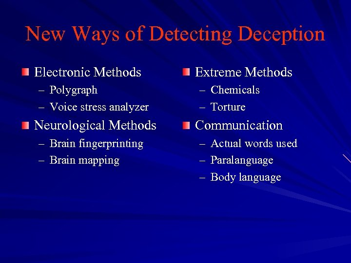 New Ways of Detecting Deception Electronic Methods – Polygraph – Voice stress analyzer Neurological