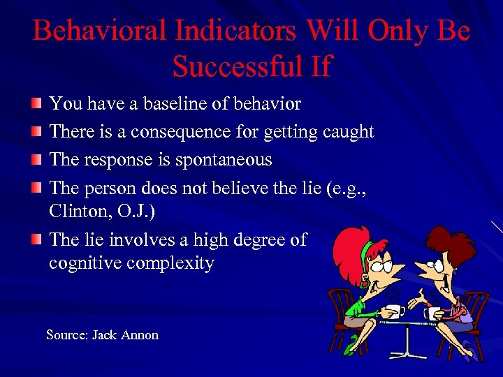Behavioral Indicators Will Only Be Successful If You have a baseline of behavior There