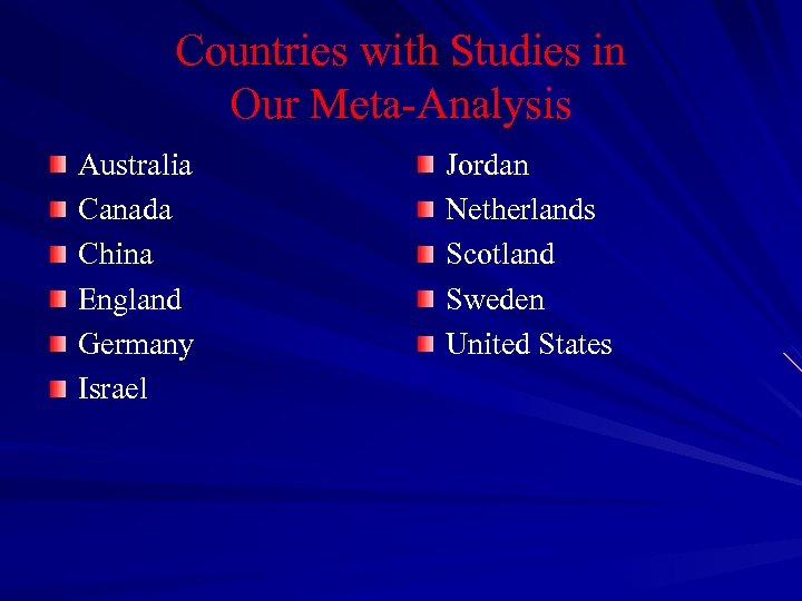 Countries with Studies in Our Meta-Analysis Australia Canada China England Germany Israel Jordan Netherlands