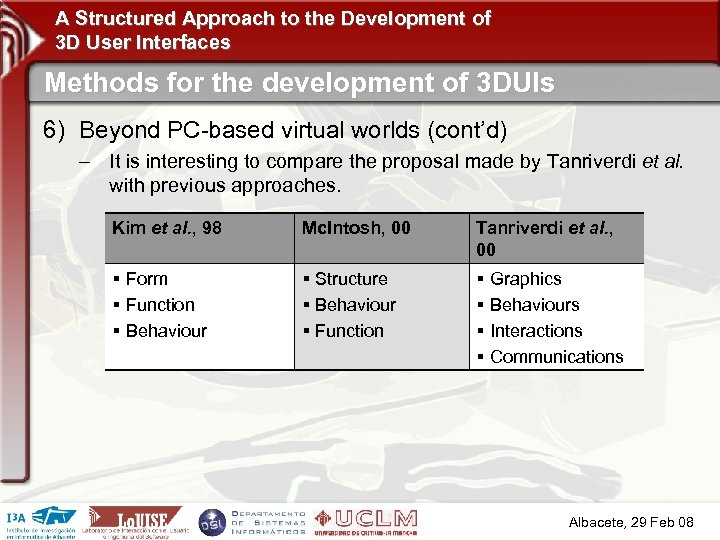A Structured Approach to the Development of 3 D User Interfaces Methods for the