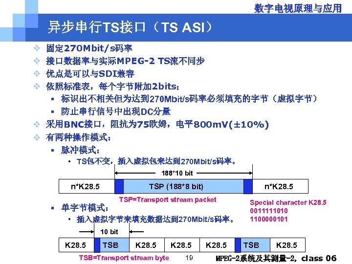 数字电视原理与应用 异步串行TS接口(TS ASI) v v 固定 270 Mbit/s码率 接口数据率与实际MPEG-2 TS流不同步 优点是可以与SDI兼容 依照标准表,每个字节附加 2 bits: