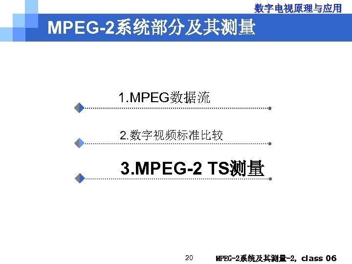 数字电视原理与应用 MPEG-2系统部分及其测量 1. MPEG数据流 2. 数字视频标准比较 3. MPEG-2 TS测量 20 MPEG-2系统及其测量-2, class 06
